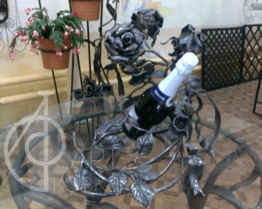 Кованая подставка под шампанское Роза