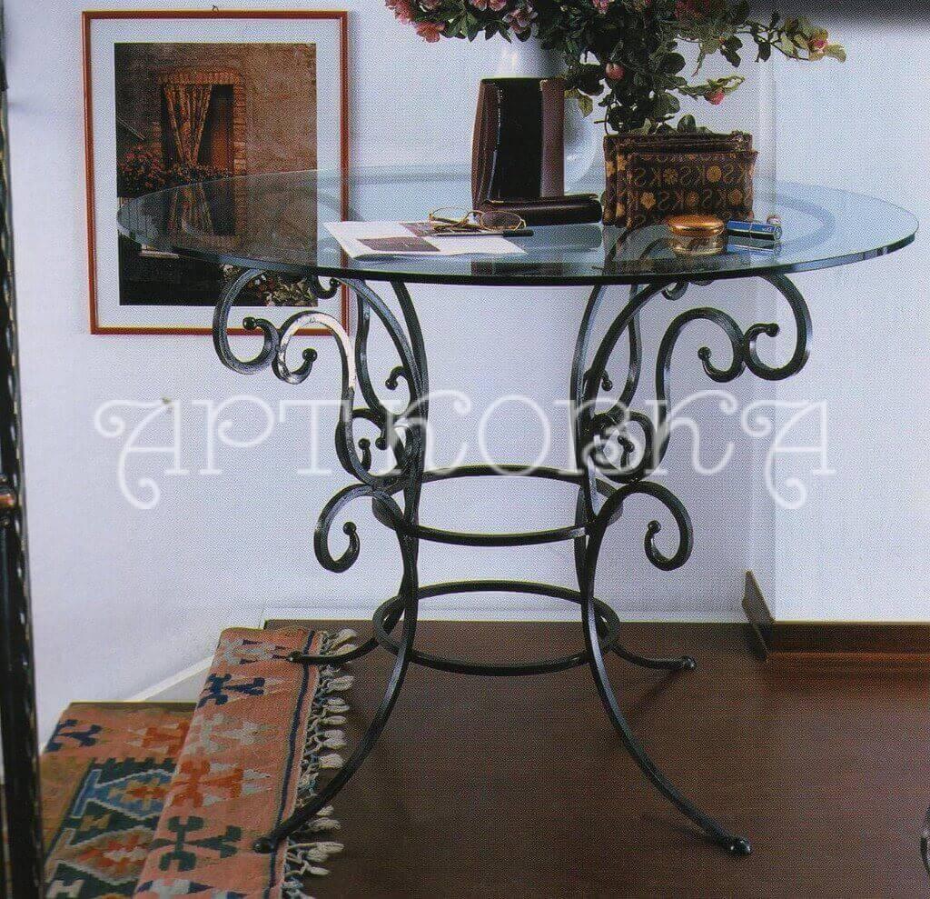 Кованый, круглый, стеклянный стол Лерой