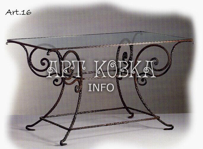 Кованый стеклянный стол для сада Камилла Арт
