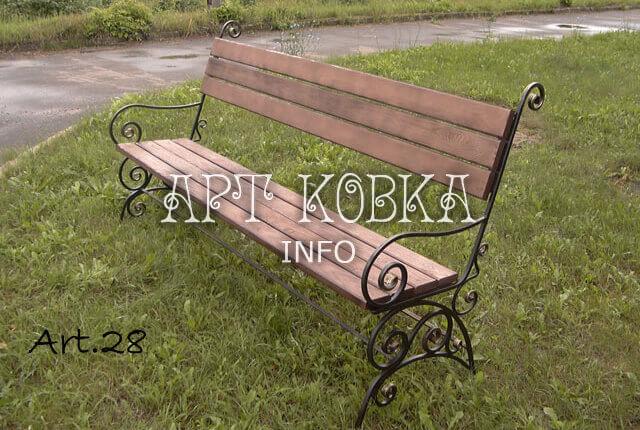 Ажурная кованая скамейка для парка Сабрина