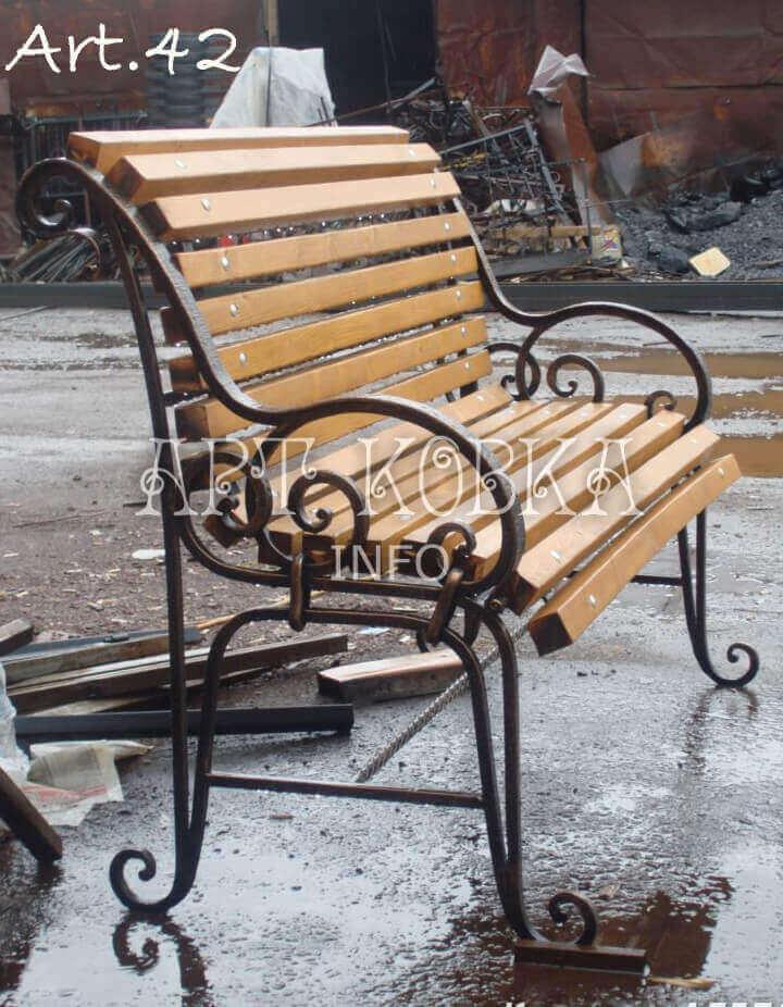 Кованая скамейка со спинкой для сада Элегия
