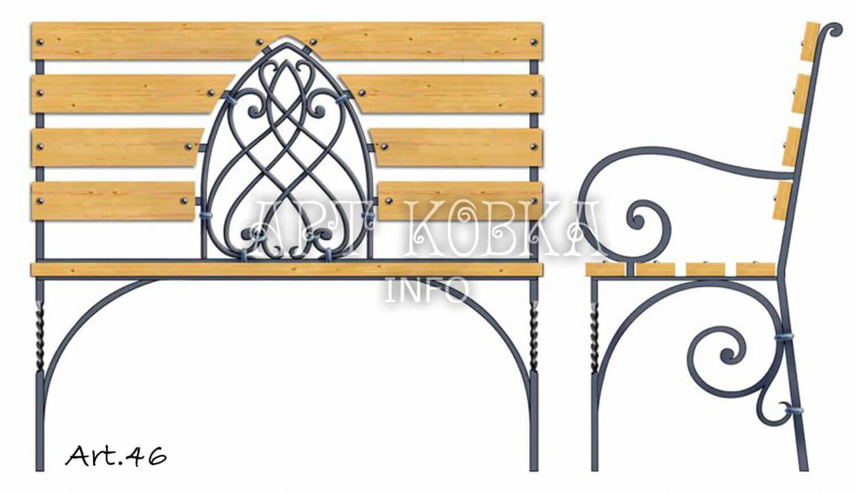 Оригинальная, ажурная кованая скамейка Витраж