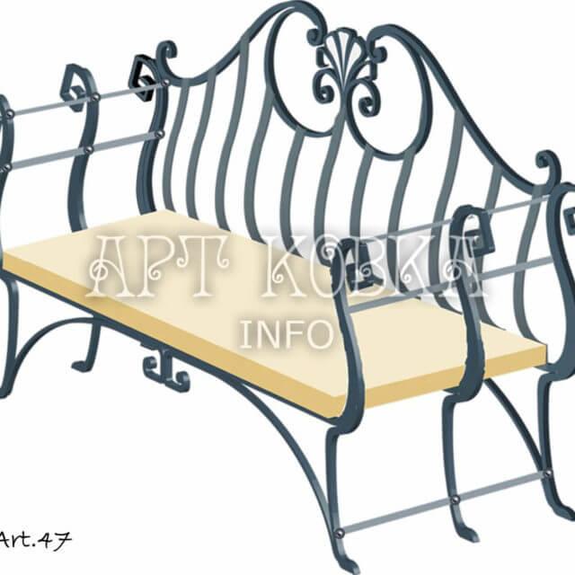 Кованая скамейка Дафна
