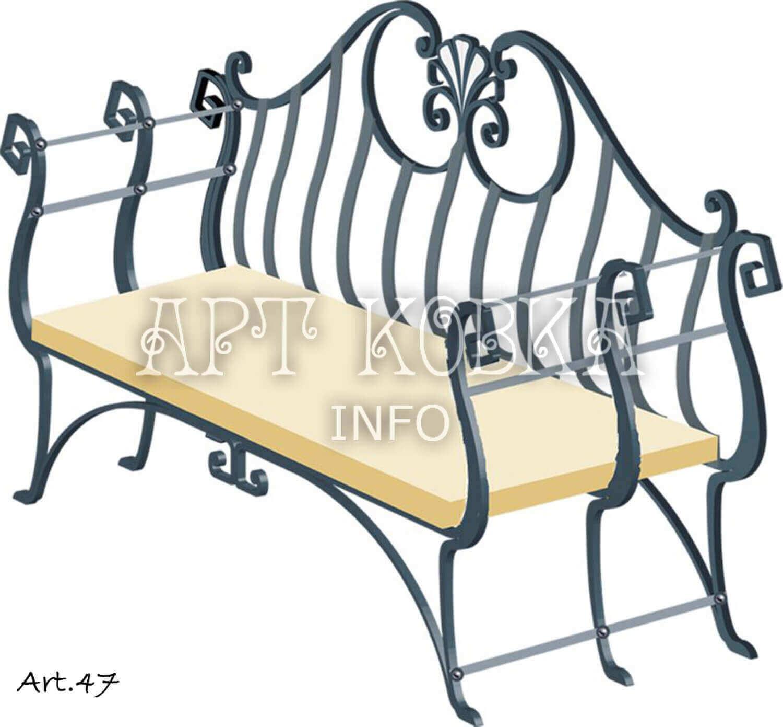 Оригинальная кованая скамейка Дафна
