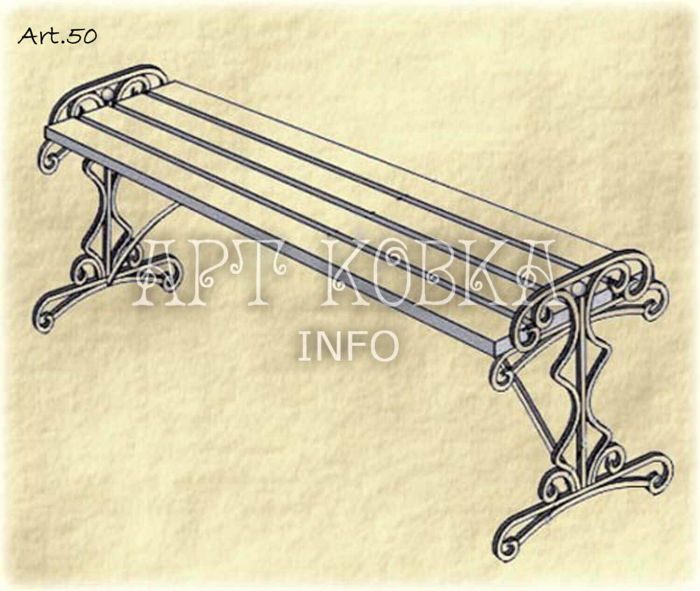 Оригинальная кованая лавочка Тиана
