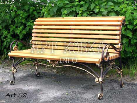 Ажурная кованая скамейка со спинкой Гранде