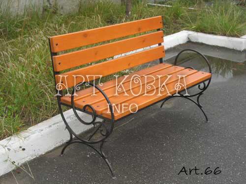 Кованая скамейка со спинкой Шион
