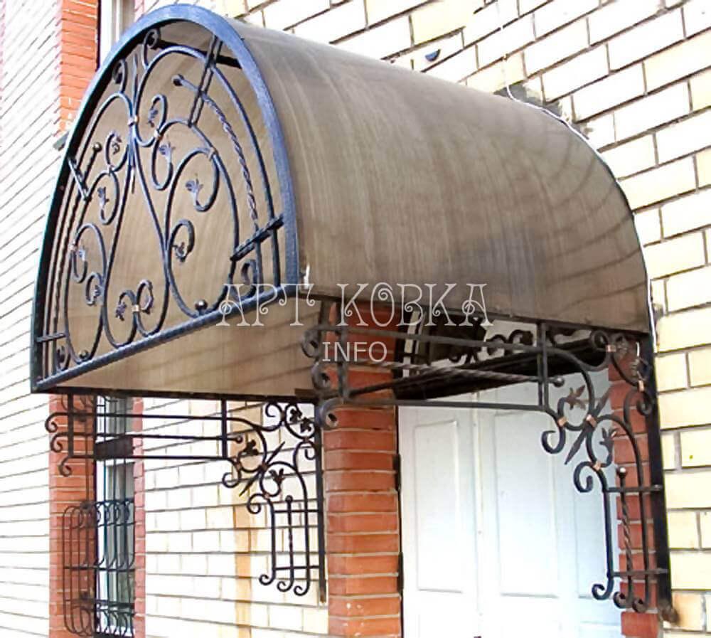 Кованый козырек на входную дверь Самир