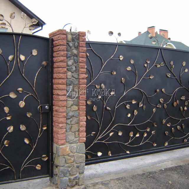 Кованые ворота Золотой лист