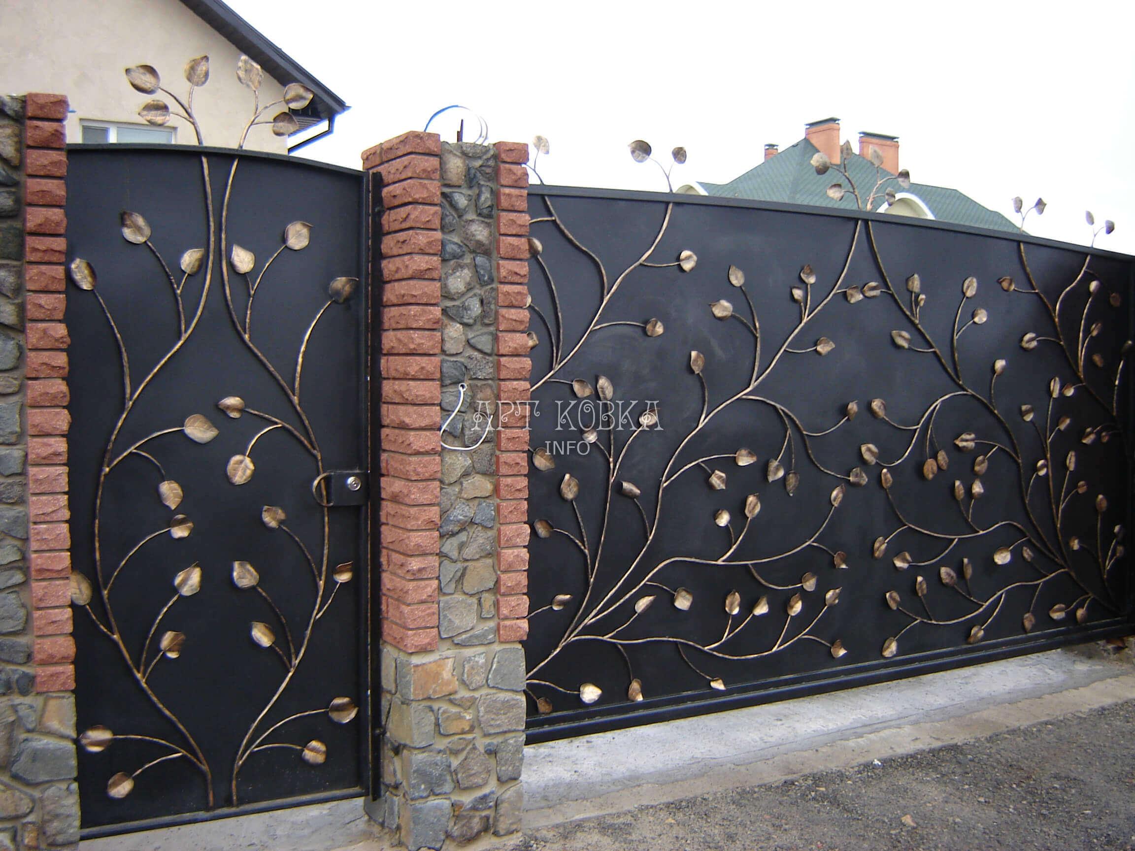 Кованые ворота с узором Золотой лист