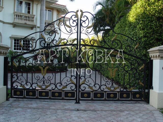 Оригинальные кованые ворота Жасмин